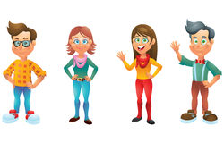 Kids, boys and girls, cartoon characters set 4 Stock Image