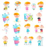 Kids Boys and Girls Collection Clipart royalty free illustration