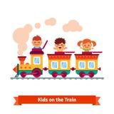 Kids, boys and girls riding on a cartoon train. Flat style vector illustration Stock Illustration