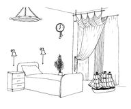 Kids boys room graphical sketch Stock Images