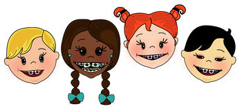 Kids with braces. Illustration of diverse children with braces on their teeth royalty free illustration
