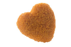 Kids Breaded Chicken Nuggets Heart shaped isolated royalty free stock photos