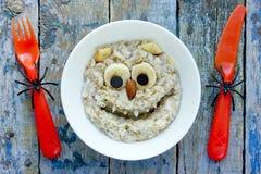 Kids breakfast monster porridge in bowl. Kids breakfast funny monster porridge royalty free stock images