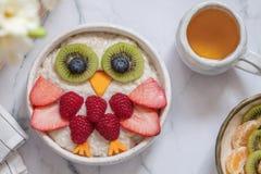 Kids breakfast oatmeal porridge Royalty Free Stock Image
