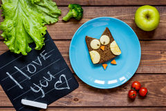 Kids breakfast owl shaped sandwich i love you Royalty Free Stock Photography