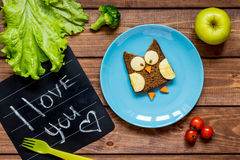 Kids breakfast owl shaped sandwich i love you Stock Photography