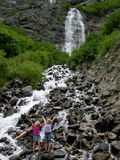 Kids @ Bridal Veil Falls. Image of 2 young girls playing in the water at the base of Bridal Veil Falls near Provo, Utah Royalty Free Stock Image