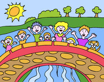 Kids on Bridge Royalty Free Stock Image