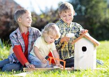 Kids brothers making nesting box together on lawns in summertime Stock Images