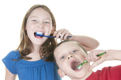 Kids brushing teeth Royalty Free Stock Image
