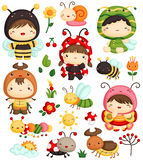 Kids in Bugs Costume Vector Set Royalty Free Stock Images