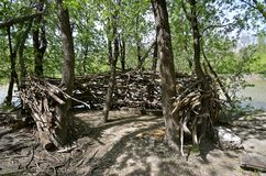 Kids build fort on banks of a river Royalty Free Stock Photography