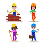 Kids builders characters vector illustration Stock Photos