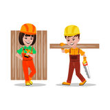 Kids builders characters vector illustration Royalty Free Stock Images