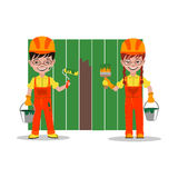 Kids builders characters vector illustration Royalty Free Stock Photography