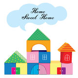 Kids building blocks. Home sweet home.   illustration isolated on white background Stock Images