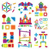 Kids building blocks toy baby colorful bricks to build or construct cute color construction in childroom illustration. Set of children blocks games isolated on Stock Photography