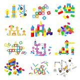 Kids building blocks vector baby toy colorful bricks to build or construct cute color construction in childroom. Illustration set of children blocks games Stock Photography
