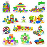 Kids building blocks vector baby toys colorful bricks for construction in playroom where children build or construct. Tower illustration set of child blocks Royalty Free Stock Photography