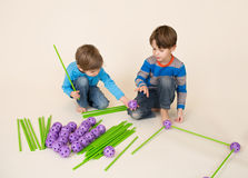 Kids Building a Fort and Sharing Stock Photos