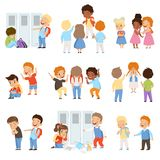 Kids bullying the weaks set, bad behavior, conflict between children, mockery and bullying at school vector Illustration. Isolated on a white background stock illustration