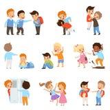 Kids bullying the weaks set, boys and girls mocking classmates, bad behavior, conflict between children, mockery and stock illustration