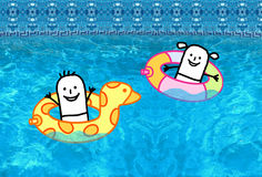 Kids with buoys in swimming pool royalty free stock image