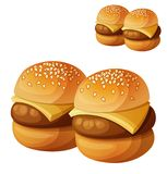 Kids burgers sliders isolated on white background. Detailed vector icon vector illustration