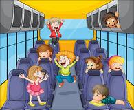 Kids in the bus vector illustration