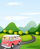 Kids in a bus. Illustration of a kids in a bus in a beautiful nature Stock Image