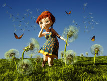 Kids and butterflies. Royalty Free Stock Photography