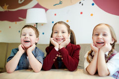 Kids in cafe Royalty Free Stock Photo
