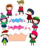 Kids and cake Stock Photos