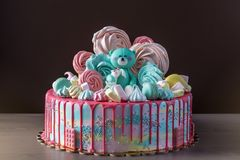 Free Kids Cake Decorated With Teddy Bear And Colorful Meringues, Marshmallows. Concept Of Desserts For The Birthday Children Stock Photos - 104912783
