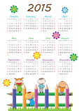 Kids calander 2015. Cute calander on 2015 year with happy kids Stock Photography