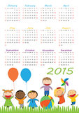 Kids calander 2015. Cute calander on 2015 year with happy kids Stock Photo