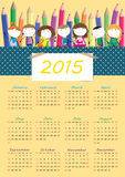 Kids calander 2015. Cute calander on 2015 year with happy kids royalty free illustration