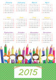 Kids calander 2015. Cute calander on 2015 year with happy kids Royalty Free Stock Images