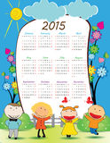 Kids calander 2015. Cute calander on 2015 year with happy kids Stock Image