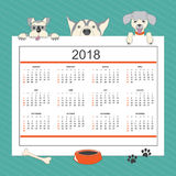 Kids calendar with funny cartoon dogs for wall year 2018. Kids calendar for wall year 2018 with three cartoon dogs. English language. Classic american style Royalty Free Stock Images
