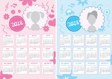 Kids Calendar of New Year 2018. Two Versions for Girls and Boys - EPS Vector Template Stock Images