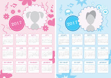 Kids Calendar of New Year 2017 - Two Versions for Girls and Boys. EPS Vector Template Stock Photo