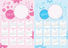 Kids Calendar of New Year 2016  - Vector Template. Kids Calendar of New Year 2016 - Two Versions for Girls and Boys - EPS Vector Template Stock Photo