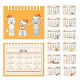 Kids calendar for wall or desk year 2018. Business american calendar for desk on 2018 year. Set of the 12-month isolated pages with funny cartoon dogs and three Stock Photo