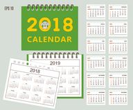 Kids calendar for wall or desk year 2018, 2019 Stock Photography