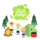 Kids Camp illustration. Inscription Kids Camp. A girl and boys greeting waving their hands and smiling. Forest background with a bonfire and a tent. Vector Stock Photos