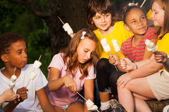 Kids with campfire treat during camping Royalty Free Stock Photo