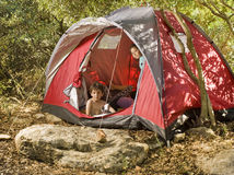 Kids camping Stock Image