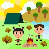 Kids camping Stock Image