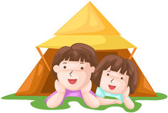 Kids camping Stock Images